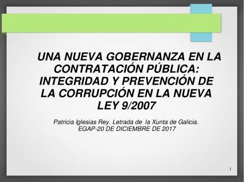 Bo goberno, integridade e transparencia na contratación pública  - A nova Lei de contratos do sector público